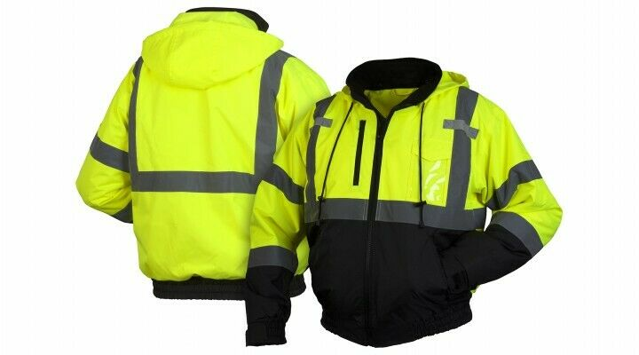 Pyramex RJ3110 Class 3 Black Bottom Bomber Jacket w/Removable Fleece Liner M-4X Clothing, Shoes & Accessories