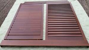 Beautiful Pair of Cedar Wooden Shutters with Pelmets and Tracks