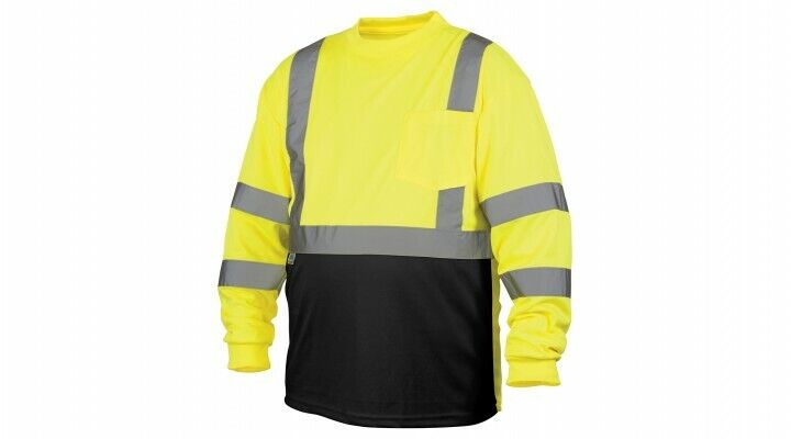 Pyramex RLTS3110B Class 3 Long Sleeve Safety Shirt W/Black Bottom Lime Med-5XL Clothing, Shoes & Accessories
