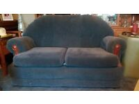 3 Piece Suite-2 seater sofa and 2 chairs in Navy fabric in good condition. £100.0