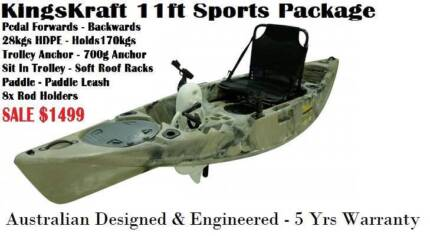 Aus Pedal FIshing Kayak Sale $1499 Limited Stock ! 5Yrs Warranty