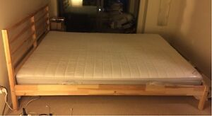 IKEA BED FRAME WITH MATTRESS QUEEN SIZE