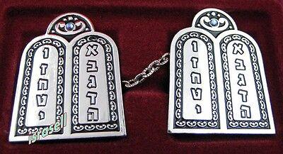 Ten Commandments Silver Plated Tallit Prayer Shawl Clips - Jewish Judaica (Silver Tallit Clips)
