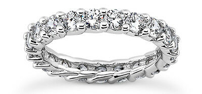 Lucida Style 4 ct Diamond Ring Eternity 14k Band 16 x 0.25 ct Size 6 G color SI2