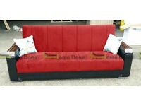**7-DAY MONEY BACK GUARANTEE!** Talbot Turkish Fabric Luxury Sofabed with Storage in 3 colours