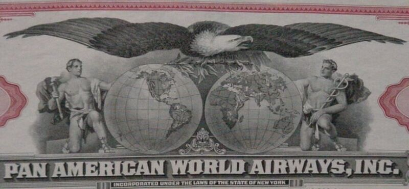 Pan American World Airways 100 Shares Capital Stock Certificate Red 1960