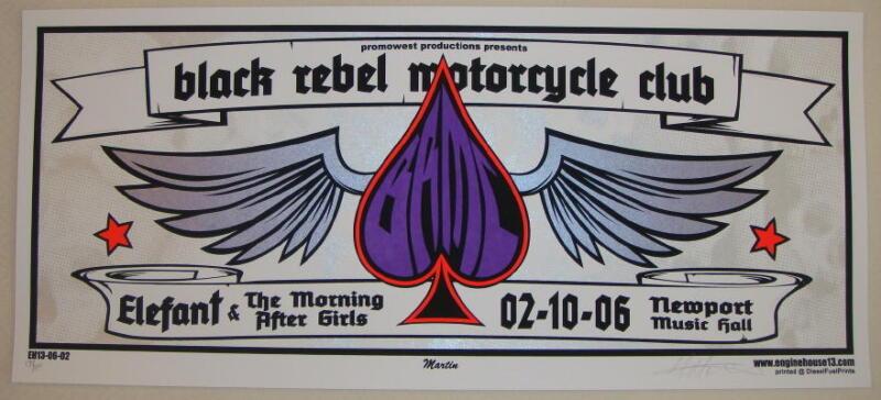 2006 Black Rebel Motorcycle Club - Columbus Silkscreen Concert Poster S/N Martin