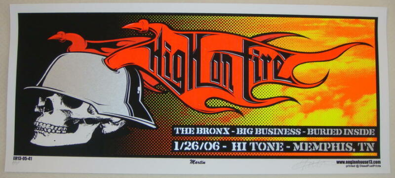 2006 High on Fire - Memphis Silkscreen Concert Poster S/N by Mike Martin