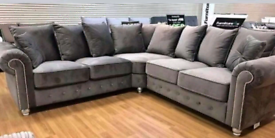 Grey Velvet 3&2 ir Corner sofa New available free local delivery