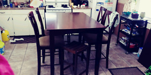Large pub style dining table set for sale
