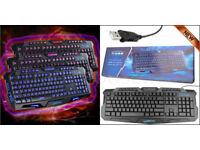 Keyboard Back Lit Illuminate 3 Light Level Colour UK Layout.