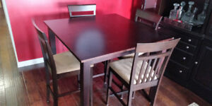 Cherry wood square dining table and 4 chairs