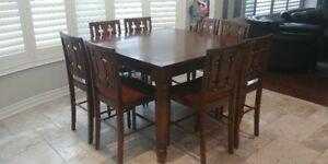 Kitchen 9 Piece Dining Set - Wood Table & Chairs