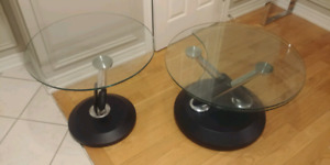 Glass Swivel coffee table/end table set