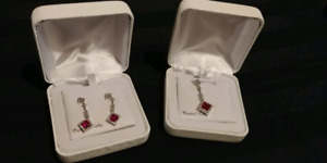 Ruby earing and necklace