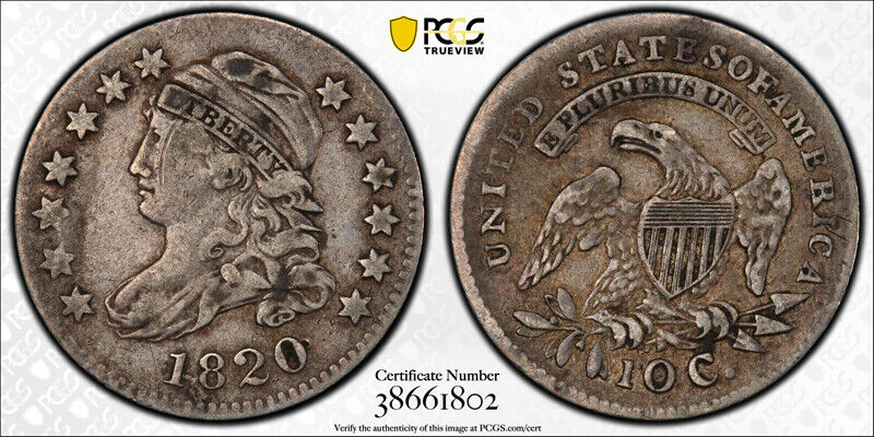 1820 10C StatesOf Capped Bust Dime PCGS VF 20 Very Fine Tough Variety Coin !