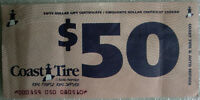 $50 Coast Tire Gift Certtificate