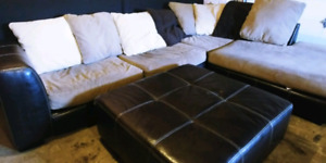 Sectional sofa ans ottoman. Free delivery