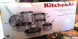 BRAND NEW Top of The Line 12 Piece KitchenAid  Tri-Ply Stainless