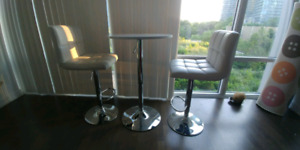 Bar height table and chairs set - white faux leather - $80