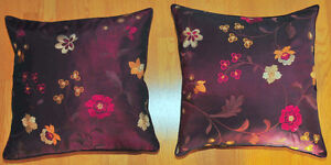 2 Beautiful Appliqued feather-filled Decorative Pillows