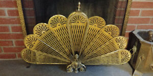 Vintage Brass Fireplace screen