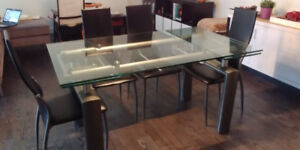 Modern Extendable Glass Dining Table with 6 Chairs