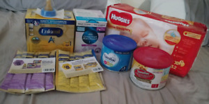Baby formula, diapers, baby girl shoes