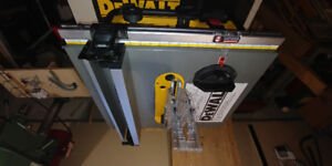 Dewalt table saw, Makita trim router, and Dust Deputy Deluxe