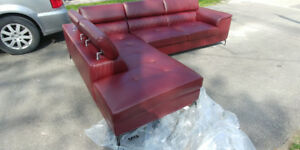 BRAND NEW FAUX RED LEATHER COUCH W/ HEAD RECLINERS
