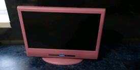 """Alba 16"""" Pink Tv with built in DVD player"""