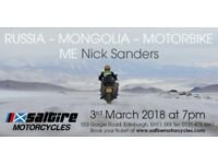 An Evening with Nick Sanders: Russia – Mongolia – Motorbike – Me
