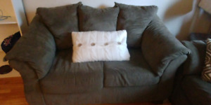 Olive green microsuede couch and loveseat