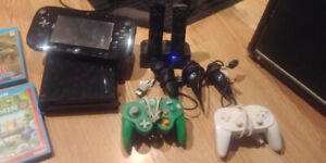 Wii-U, Controllers, Recharging Wii-motes and Games.