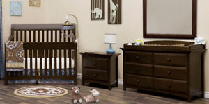 Retail $1,700 Costco 4PC Baby Crib, Bed, Dresser, Pad Collection
