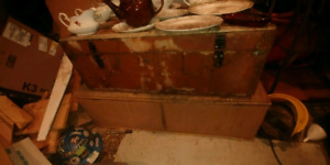 Two very old wooden chests