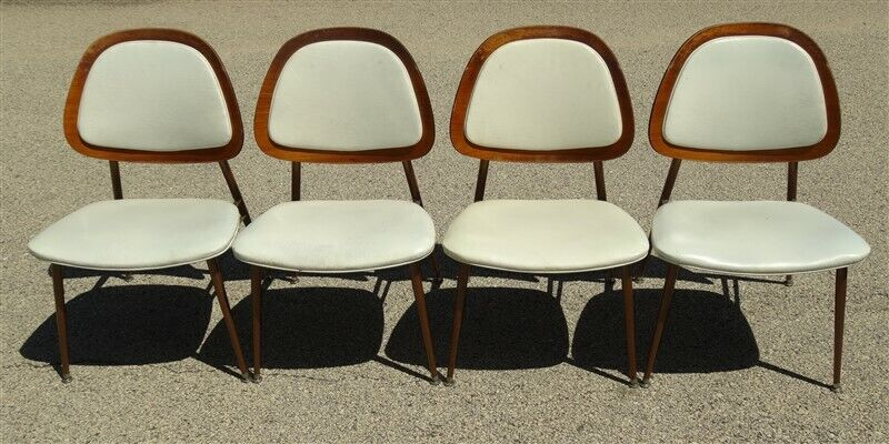 1960s 1970s Mid Century Baumritter (?) Dinette Set Steel Frame Wood Chairs Table