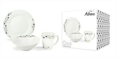 Earthenware 12 Piece Dinner Set Athens 4x Plates,Bowls & Mugs Dishwasher Safe