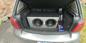 """2 12"""" kaption subs in box with mtx amp!"""