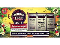 £100 for w.wend camping -tickets to Peterborough sausage & cider festival