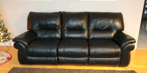 Black reclining leather couch