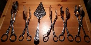 Five Vintage Silverplate Tongs & Serving Knife, $25 for all!