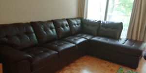 Faux Leather Sectional Sofa with Right-Facing Chaise