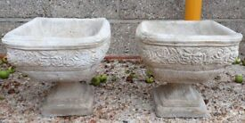 Pair Of Square Reconstituted Stone Garden Planters With Floral Design