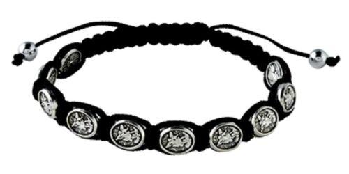 St. Michael the Archangel & Guardian Angel Black Adjustable Cord Bracelet NEW!