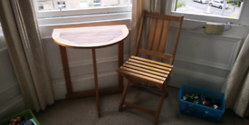 Wooden patio furniture set. Half moon table and 2x chairs