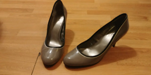 Size 9 grey patent leather shoes