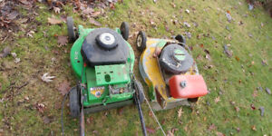 Three Commercial Lawnboy 2 stroke mowers for parts or repair
