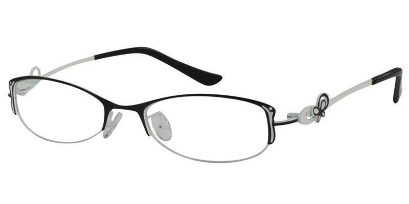 womens reading glasses black white stainless steel half