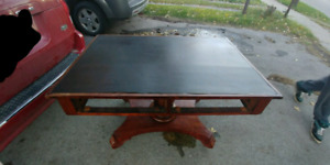 Early 1800's Solid Wood Antique Desk On Wheels